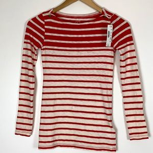 J. Crew Painter Tee Red Cream Striped Long Sleeve